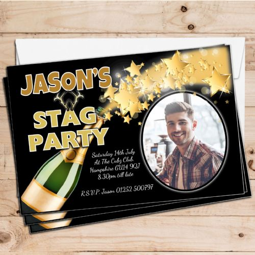 10 Personalised Stag Night Batchelor Party PHOTO Invitations N23